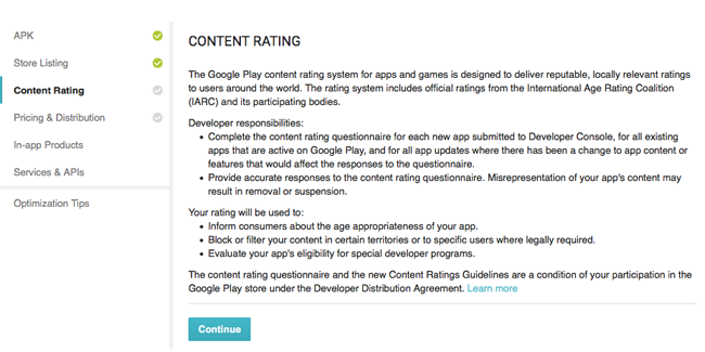 Content Rating is necessary for listing your mobile application on Google Play store